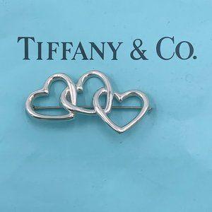Authentic Tiffany & Co Silver Triple Heart Brooch